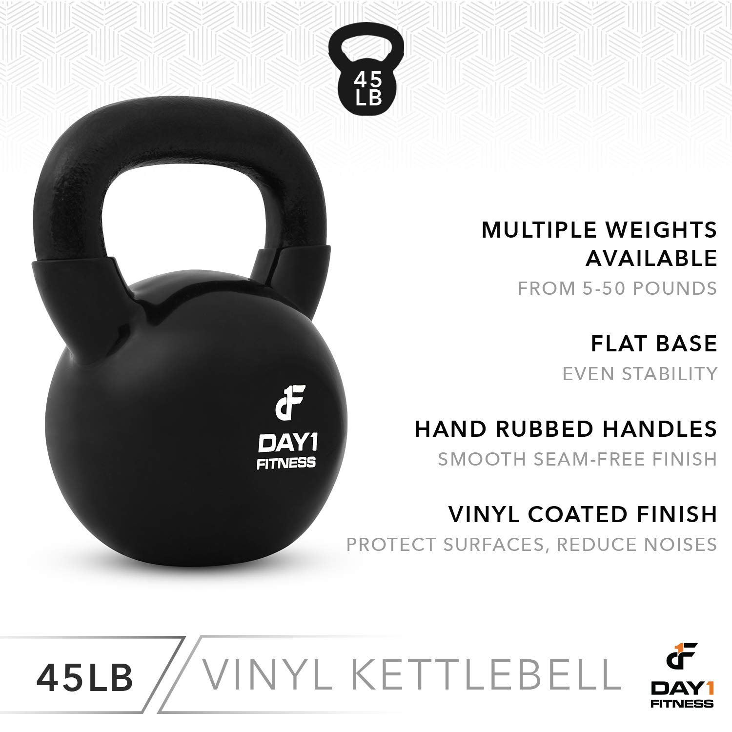 Day 1 Fitness Kettlebell Weights Vinyl Coated Iron 45 Pounds - Coated for Floor and Equipment Protection, Noise Reduction - Free Weights for Ballistic, Core, Weight Training by Day 1 Fitness (Image #4)