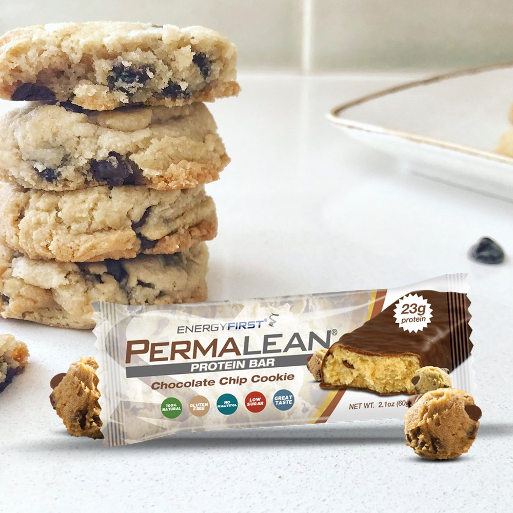 Permalean Chocolate Chip Cookie Whey Protein Bars | 100% Gluten Free Natural Protein Bar | Non-GMO | Low Sugar | Low Carb | High Whey Protein Bars - Pack of 12 by EnergyFirst