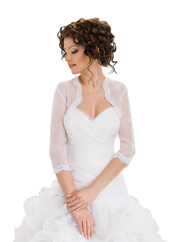 Wedding Bridal Top Lace Organza Bolero Shrug Jacket Stole Shawl