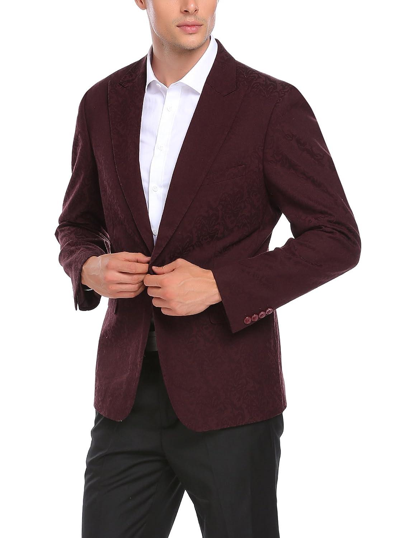 COOFANDY Men Fashion Floral Print Party Dinner Dress Suit Jacket Wedding Blazer