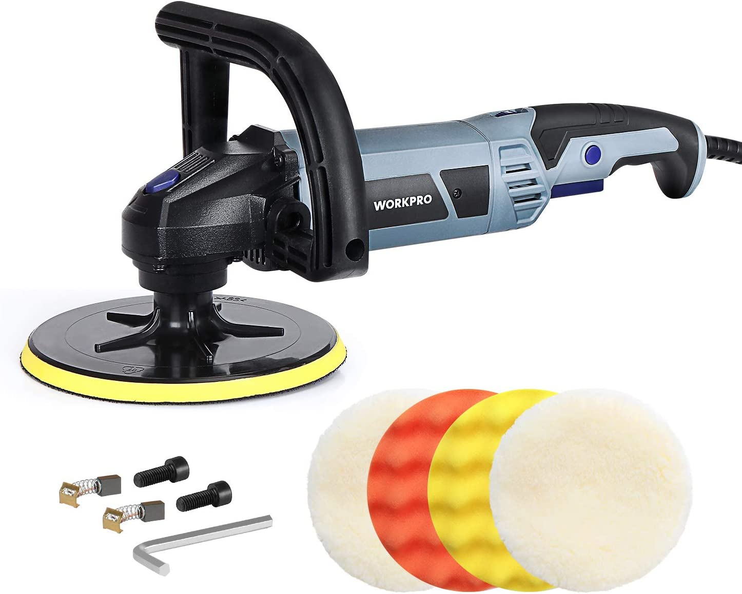 WORKPRO Buffer Polisher - 7-inch Buffer Waxer with 4 Buffing and Polishing Pads, 6 Variable Speed 1000-3800 RPM, Detachable Handle, Ideal for Car Sanding, Polishing, Waxing, Sealing Glaze - -
