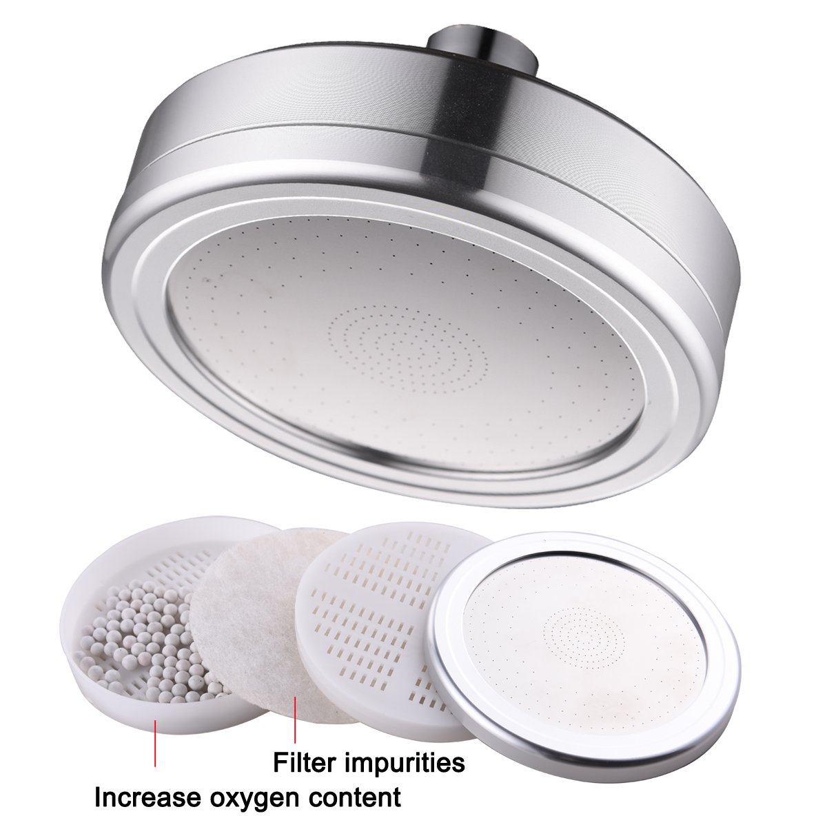 CIENCIA Shower Head with Filters Rainfall Overhead Shower High Pressure Fixed Showerhead Aluminum Filtered Shower Head 5'', BD141A