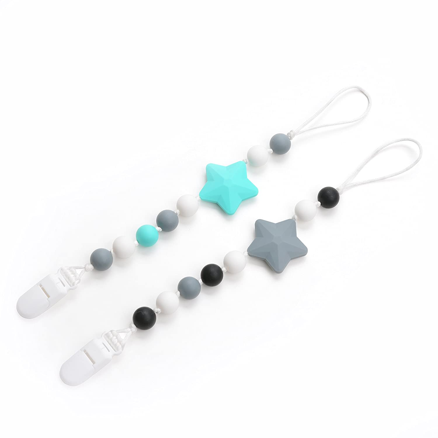 Lofca Silicone Pacifier Clip Toy BPA Free Silicone Use with Any Pacifier or Teether Baby Teething Short Chain Pacifier 2 Pack (Turquoise/Grey)