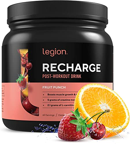 Legion Recharge Post Workout Supplement – All Natural Muscle Builder Recovery Drink with Creatine Monohydrate. Naturally Sweetened Flavored, Safe Healthy. Fruit Punch, 60 Servings.