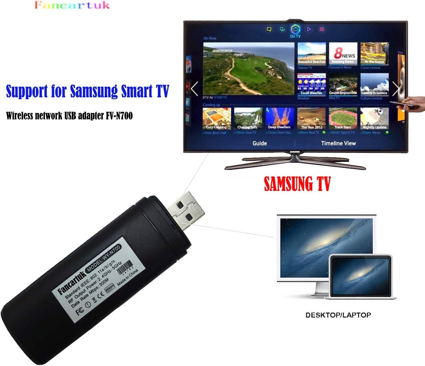 Adaptador Wi-Fi inalámbrico USB para televisión, Fancartuk 802.11ac de doble banda 2,4 GHz y 5 GHz, adaptador USB de red WiFi inalámbrico para smart TV Samsung WIS12ABGNX WIS09ABGN 300M