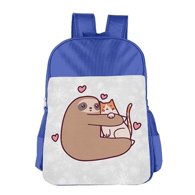 005d945bba Boys Girls Sloth Loves Cat Backpack School Bag (2 Color Pink Blue) RoyalBlue