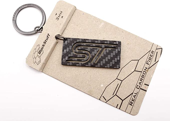 Blackstuff Carbon Kohlefaser Schlüsselanhänger Ring Halter Schlüsselhalter St Auto