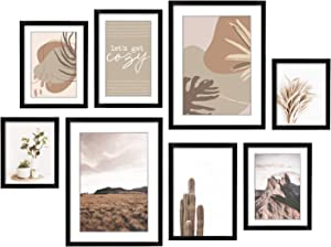 ArtbyHannah 8 Pack Gallery Wall Kit Decorative Art Prints Black Picture Frame Wall Art Decor & Hanging Template Picture Frame Set for Home Decoration, Multi Size 12x16, 8x12, 8x10, 6x8 Inch