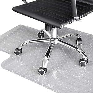 "SSLine PVC Plastic Carpet Chair Mat 36"" x 48"" Office Desk Chair Mat Anti-Slip Lipped Chair Mat for Low and Standard Pile Carpets Transparent Carpet Floor Protector"
