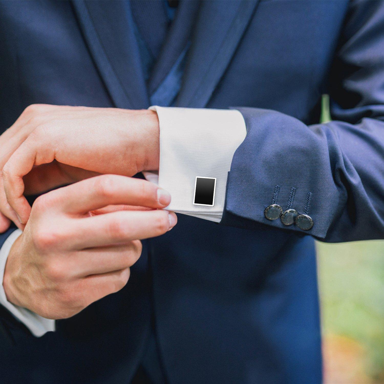 UHIBROS Mens Cufflinks Shirt Studs Set Tuxedo Shirt Cuff Links for Men Business Wedding 2 Cufflinks and 6 Studs (8pcs)