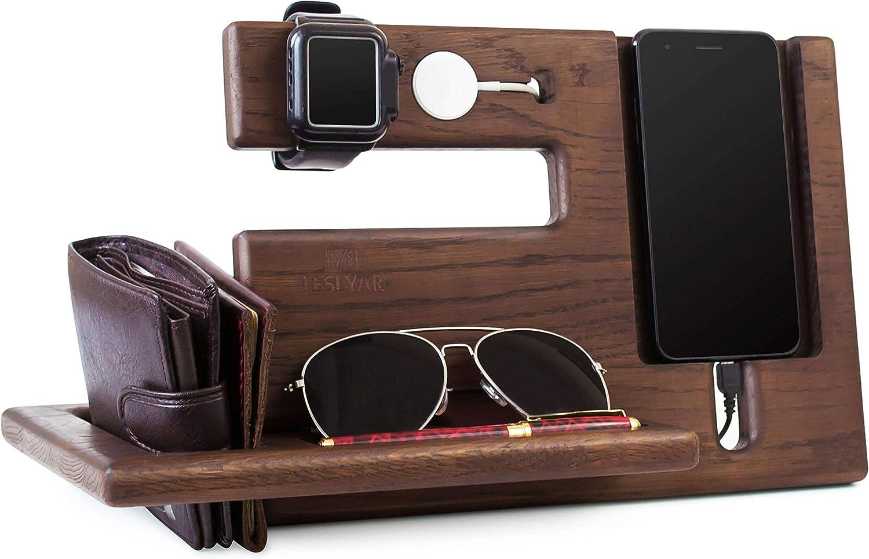 Soporte de madera para llaves, para teléfono, estación de acoplamiento, soporte de roble, organizador de reloj, regalo para hombres, esposa, esposa, aniversario, papá, cumpleaños, noche, tableta
