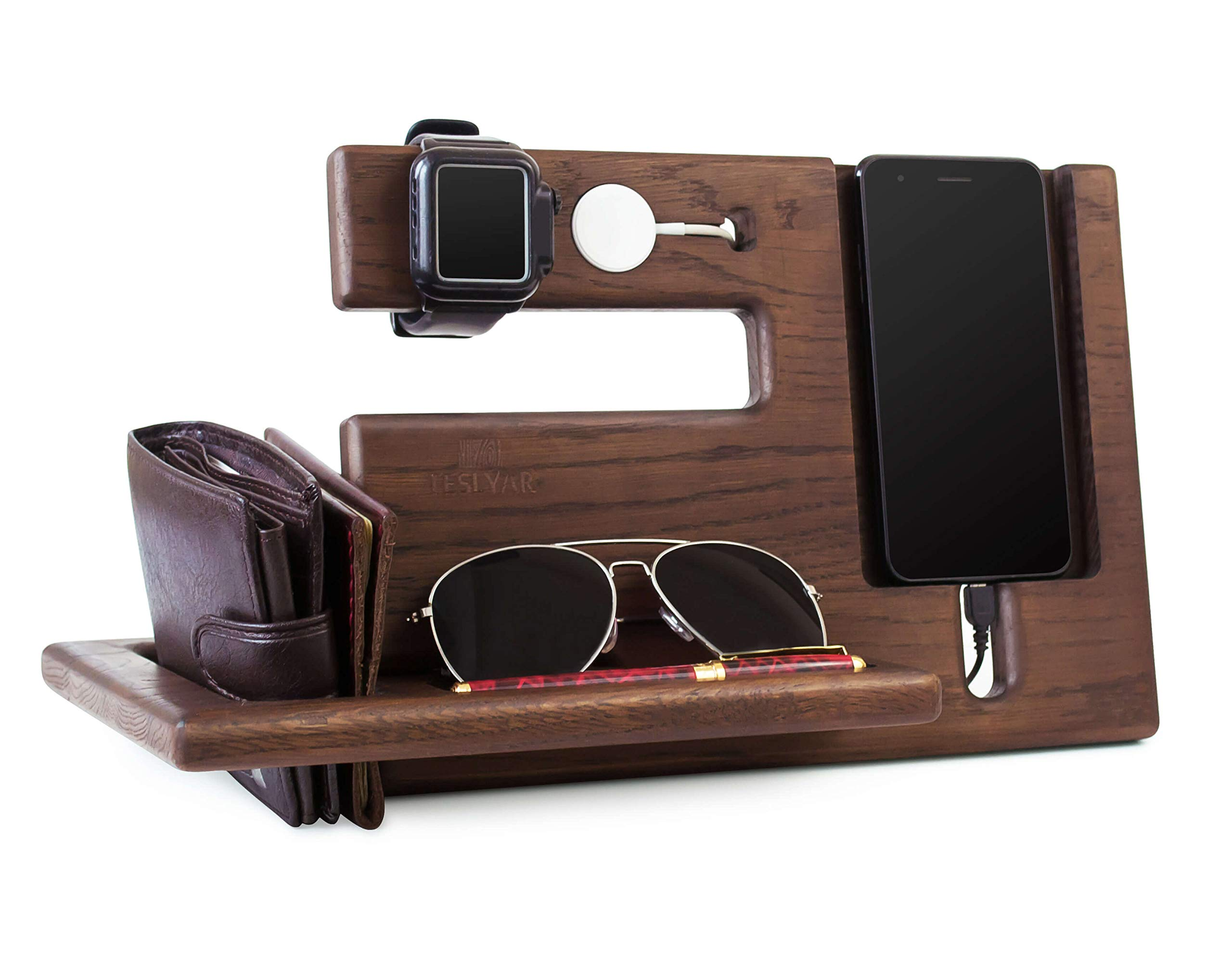 Wood Phone Docking Station Oak Recess Key Holder Wallet Stand Magnetic Watch Charger Slot Organizer Men Gift Husband Wife Anniversary Dad Birthday Nightstand Tablet Father Graduation Male Travel Idea by TESLYAR