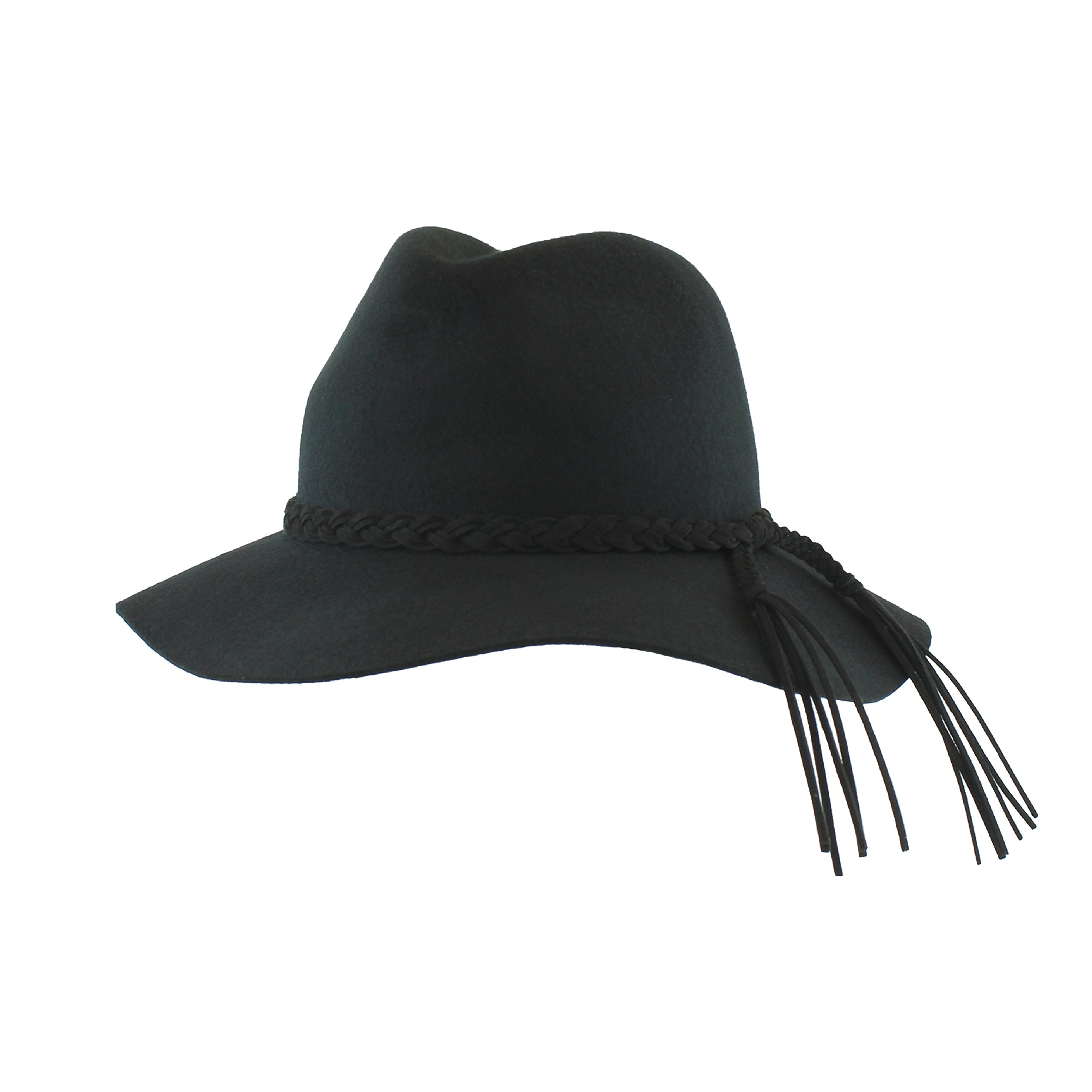 FLH Black Wool Floppy brimmed Panama Style Fedora Hat w/Braided Fringe Band – Winter