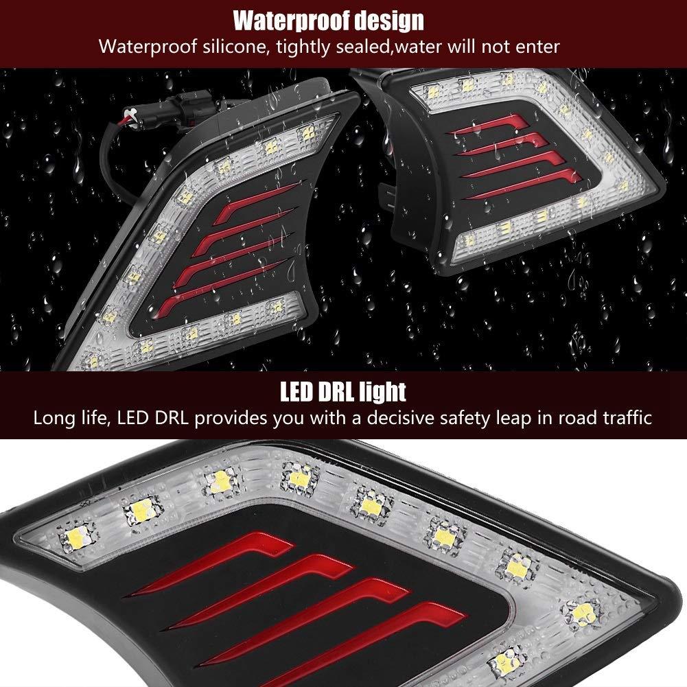 DRL 1 Pair of Car Daytime Running Light,DRL LED Daylight Fog Lamp for Toyota Hilux Vigo 12-14. Black and Chrome Color : Chrome