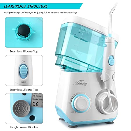 Water Flosser Oral Irrigator, HAIRBY Dental Leakproof 600ML Capacity with 8 Multifunctional Jet Tips for Braces Teeth Cleaning, 10 Adjustable Pressure Levels for Adults Kids, Family and Travel Use