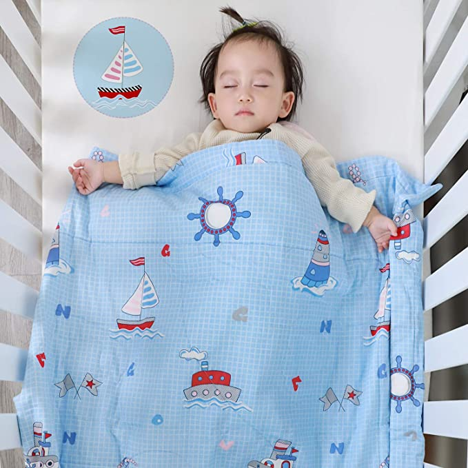 Soft /& Warm Crib Blanket for All Seasons 100/% Cotton Lightweight Thermal Baby Blanket Zoo Cute Animal Pattern Designthology Toddler and Baby Quilt Decoration Gift 47x39