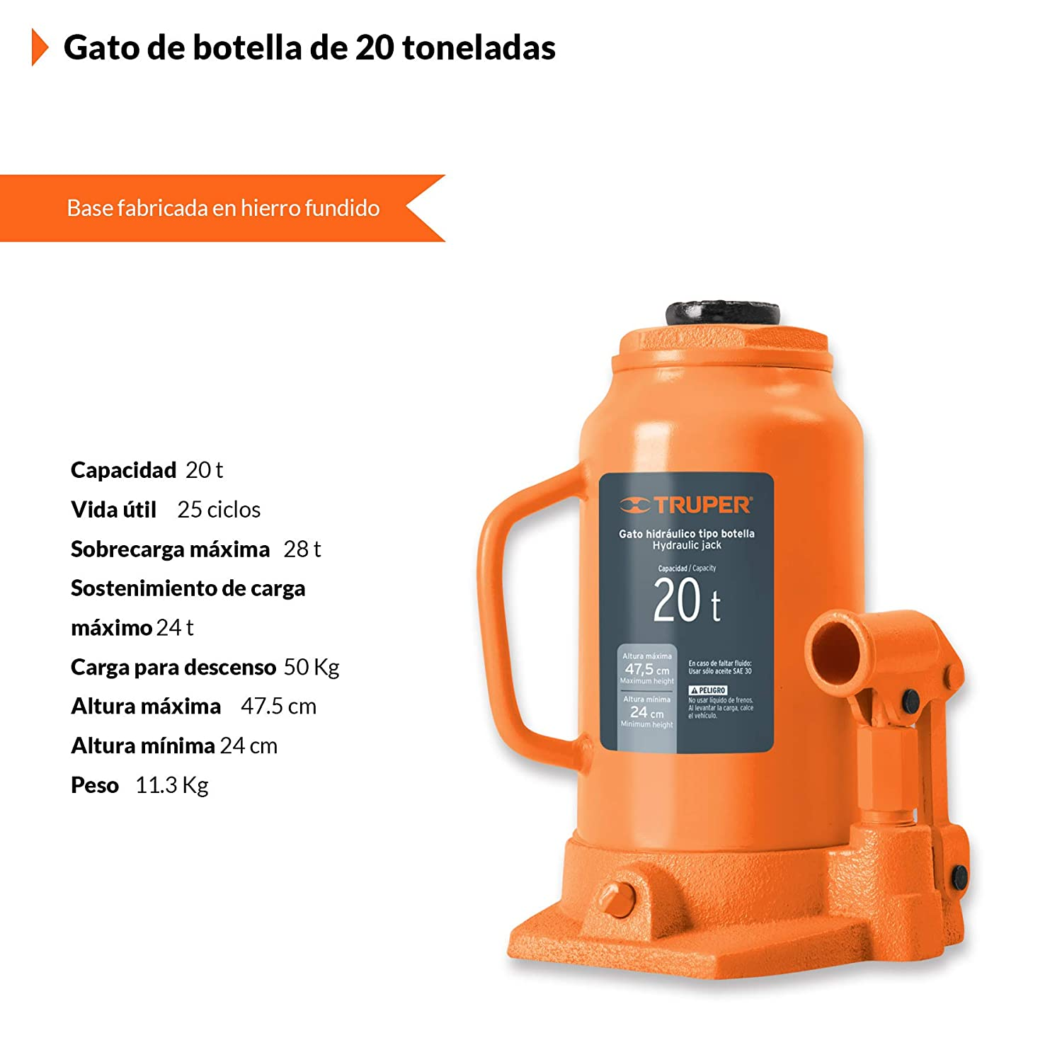 Amazon.com: TRUPER GAT-20 20-Ton Hydraulic Bottle Jacks 18 ...