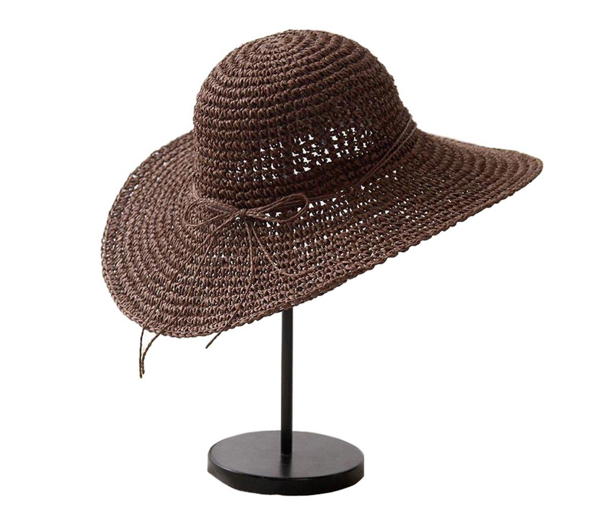 Upstore 1pcs caf/é de la Mujer Lady Grils Plegable de Ancho Gran Borde Elegante Bowknot Sombrero de Sol de Bohemia Estilo Verano Playa Paja Cap UPF 50/+