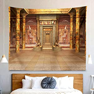 BERRY Egyptian Temple Tapestry Ancient Mysterious Hieroglyphic Carvings Wall Hanging Decor Bohemian Hippie Trippy Large Tapestry for Bedroom Living Room Dorm(80x60 Inch)