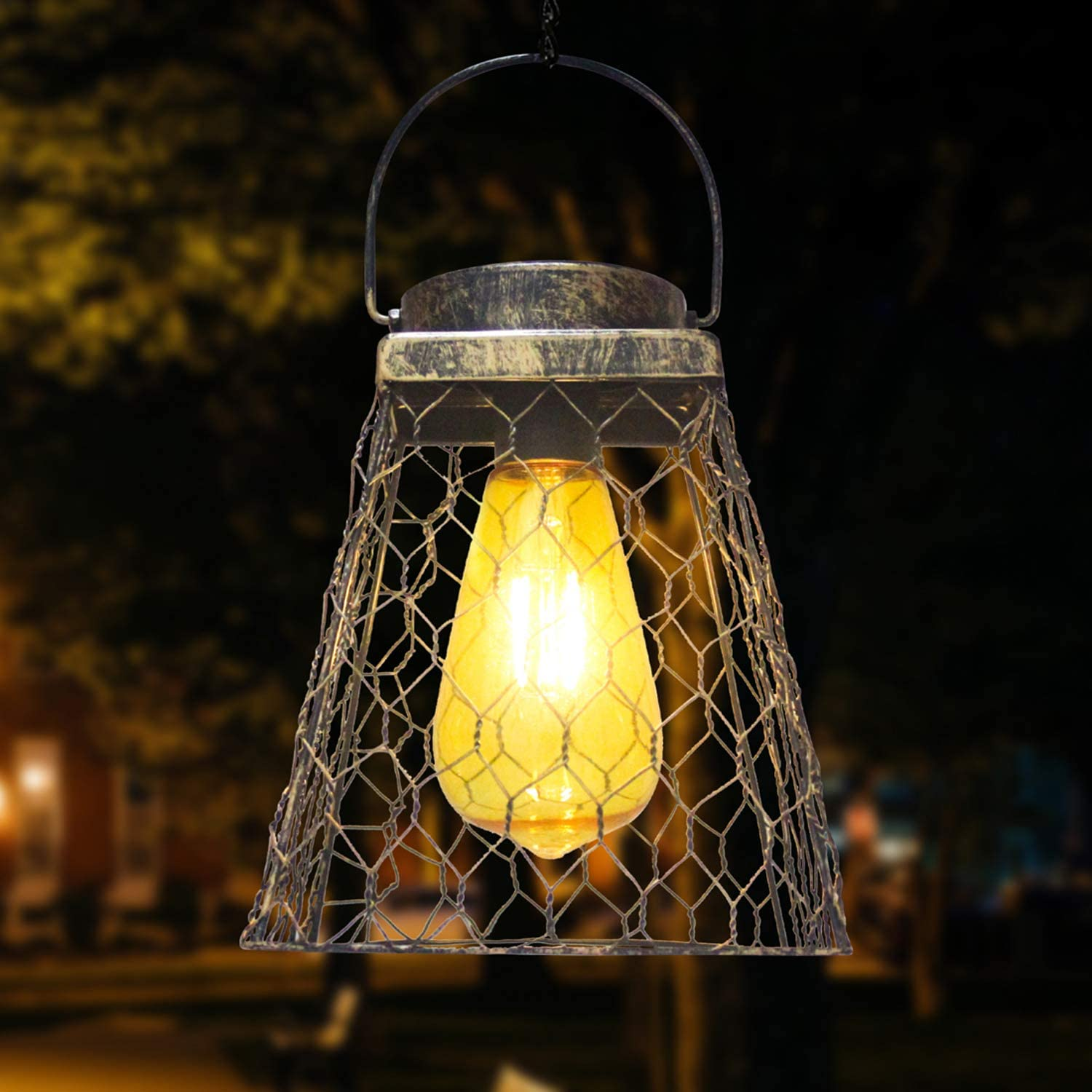 Cylinder Pathway Solar Lantern Outdoor Hanging Table Backyard Waterproof Metal Garden Solar Lantern with White Tungsten Bulb for Patio Party