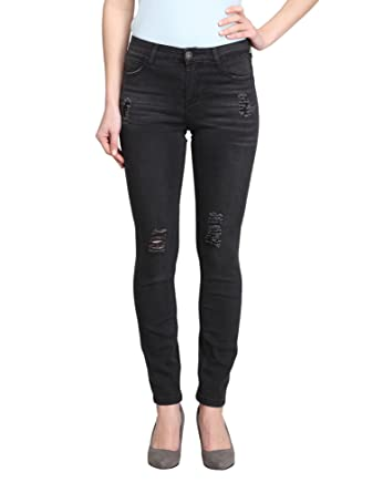 70f5918a1be9d Women s Distressed Black Mid-Rise Skinny Ankle Jeans (Dahlia-AK) at ...