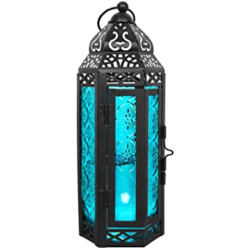 Pink Glass Tall Moroccan Lantern Candle Style Holder Metal Hanging Decor Wedding