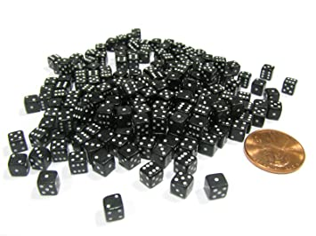 200 5mm .197 Inch Six Sided D6 Die Small Tiny Mini Miniature Black Dice for sale online