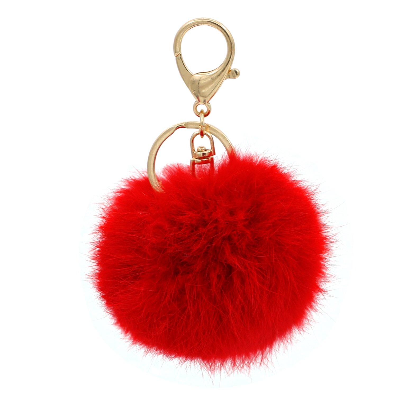 tallahassee Furry Ball Keychain Bag Hanging Rabbit Fur Key Ring