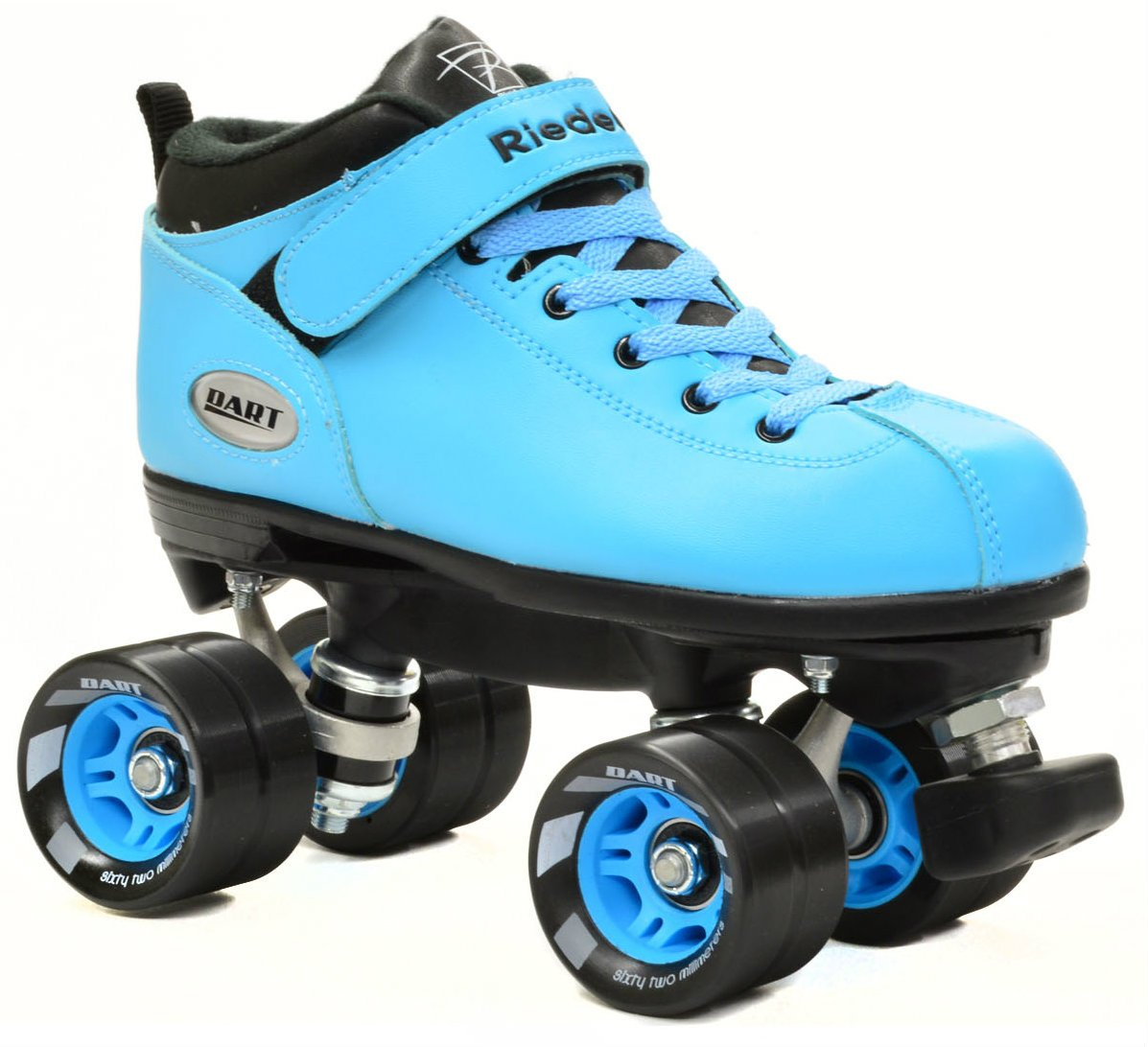 Riedell Dart Ice Blue Quad Speed Skates with Matching Laces for Roller Derby by Riedell