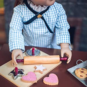 The Queen's Treasures French Baking Tools And Cookies 18 In Doll Accessory Set with 2 Cookie Cutters, Bread Board, Rolling Pin, and 4 Piece Cookies. Designed To Be Compatible With 18
