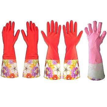 Treenewbid Kitchen Rubber Dishwashing Gloves