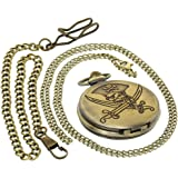 Bronze Vintage Brass Antique Case Pocket Watch Fob Watch for Men Women with 1 PC Necklace Chain 1 PC Clip Key Rib Chain