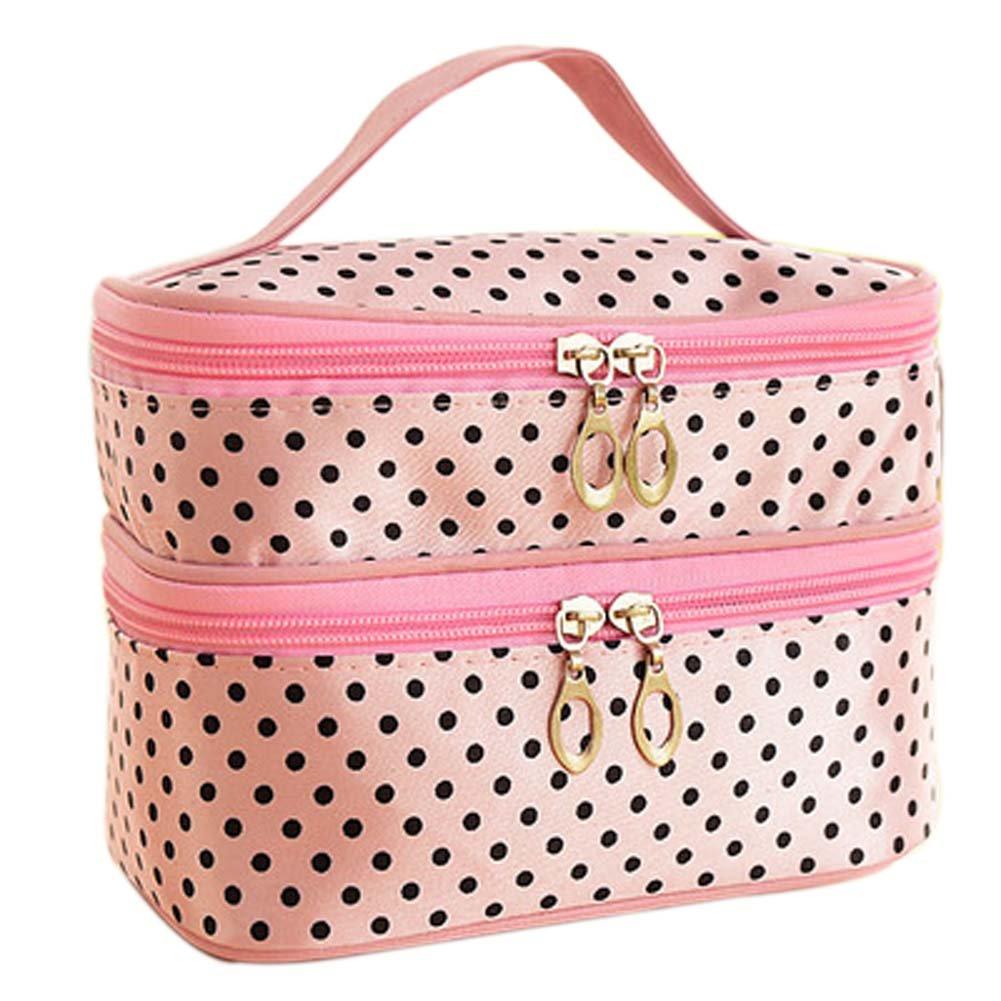 (PINK)Double-deck Travel Toiletry Beauty Cosmetic Bag Makeup Case Organizer Zipper Holder Handbag