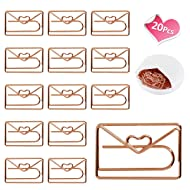 Lovely Heart Envelope Shape Small Paper Clips - Cute Paper Clips - Funny Bookmark Marking Clips for Office School Wedding Party Invitation Valentine Decoration - Planner Paperclips (20 pcs) (Envelope)