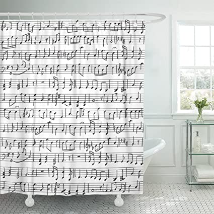TOMPOP Shower Curtain Music Handwritten Musical Notes Pattern Sheet Orchestra Sketch Handwriting Waterproof Polyester Fabric 72