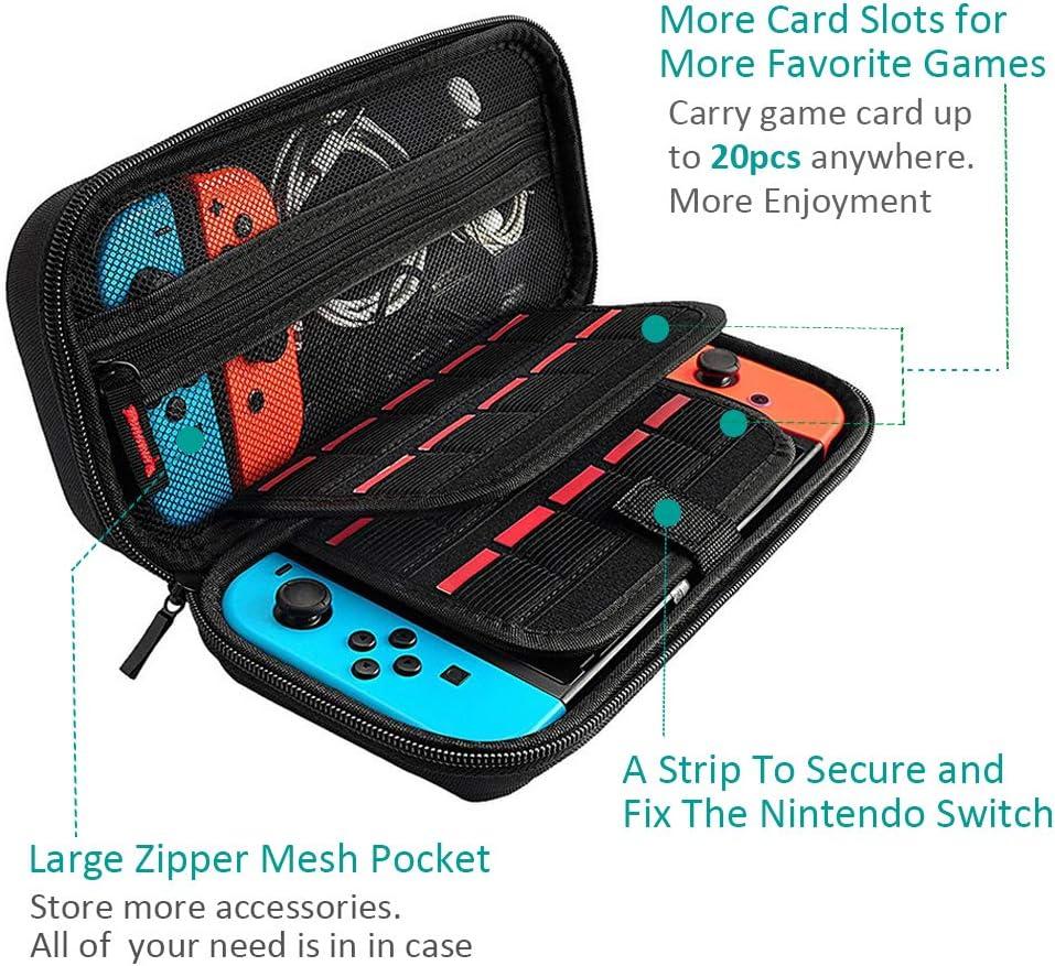 Estuche portátil y protector de pantalla compatible con el interruptor de Nintendo, Bolsa para estuche rígido para viaje (20 titulares de tarjetas, gran capacidad, cremallera premium) --- Negro: Amazon.es: Videojuegos