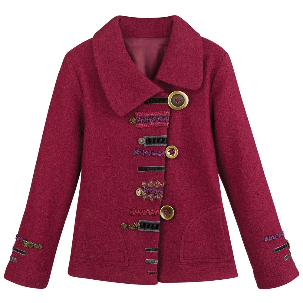 CATALOG CLASSICS Women's Red Parade Jacket - 100% Wool Artistic Military Styled Coat - XL
