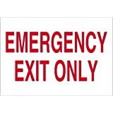 """Imprint 360 AS-10002V Vinyl ADHESIVE Workplace Emergency Exit Only Sign- 7"""" x 10"""", White / Red, PROUDLY Made in the USA, Great Resistance to Water and Most Chemicals"""