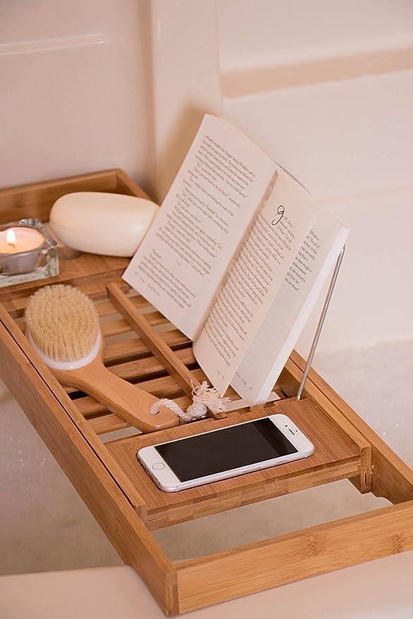 Premium Bamboo Bath Tub Caddy | Expandable Bath Tray with Wine ...