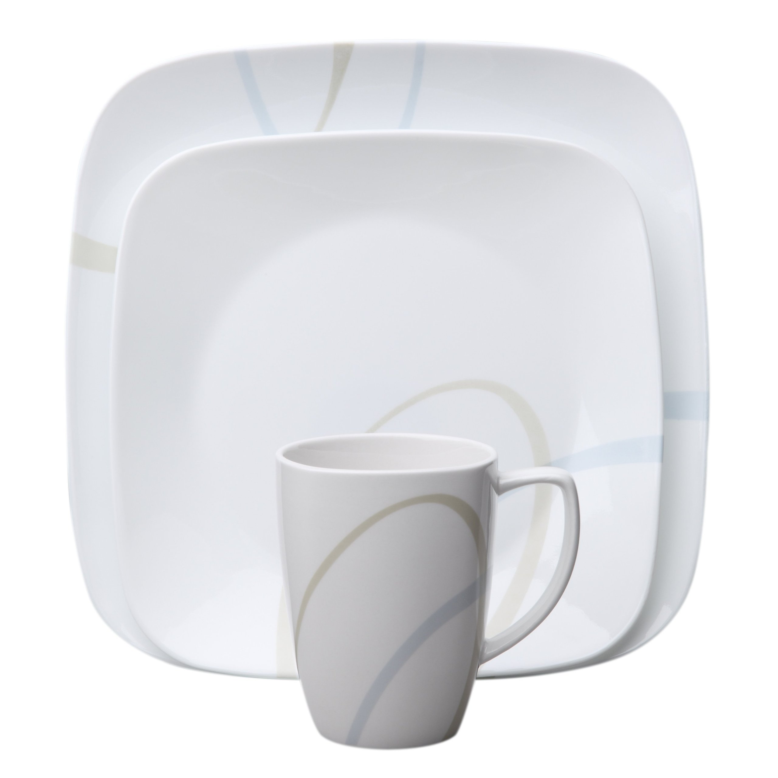 Corelle Square 16-Piece Dinnerware Set,  Sand and Sky, Service for 4 by Corelle