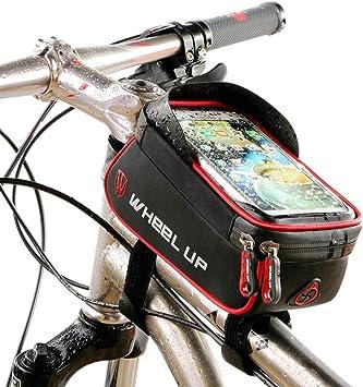 LYLTJ68 Bolso de Bicicleta Bolsa Marco de Bicicleta Resistente al Agua de montaña City Road Bicicleta Cruz Barra Bolso Porta Bolsa para Smartphone escuche la canción,Gray: Amazon.es: Deportes y aire libre