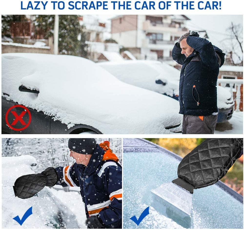Unique Store Ice Scraper for Car Snow Scraper Mitts Windscreen Scraper with Glove with Waterproof Snow Remover Lined of Thick Fleece Window Scraper Black 38 19cm
