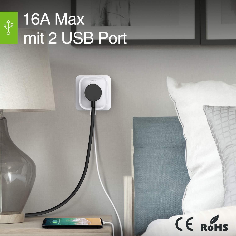 Gosund Smart Steckdose mit 2 USB-Anschlüssen Alexa WLAN Steckdosen überspannungs