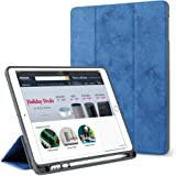 "ProElite PU Smart Flip Case Cover for Apple iPad Air 3 10.5"" with Pencil Holder, Dark Blue"