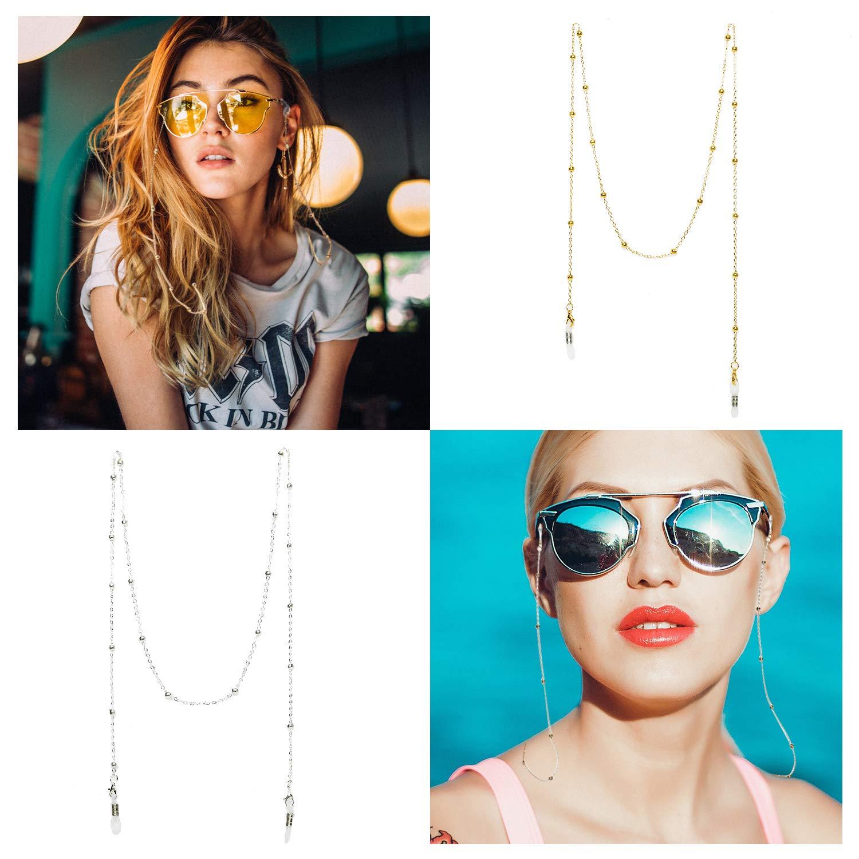 Amazon.com: 4 cadenas de gafas para mujer – Soporte de metal ...