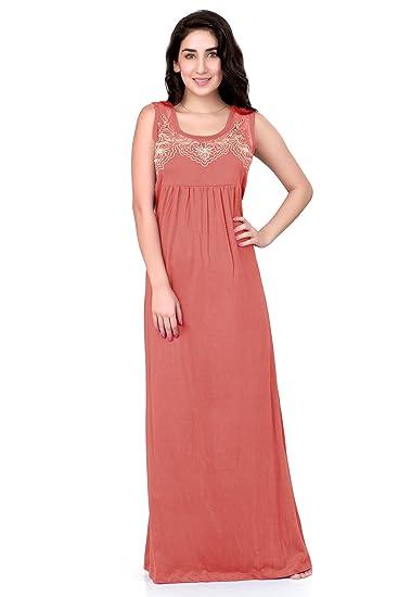 0eef4bb7ad HoneyDew - Womens Cotton Hoisery Plain Nighty - Gajar Pink Color ...