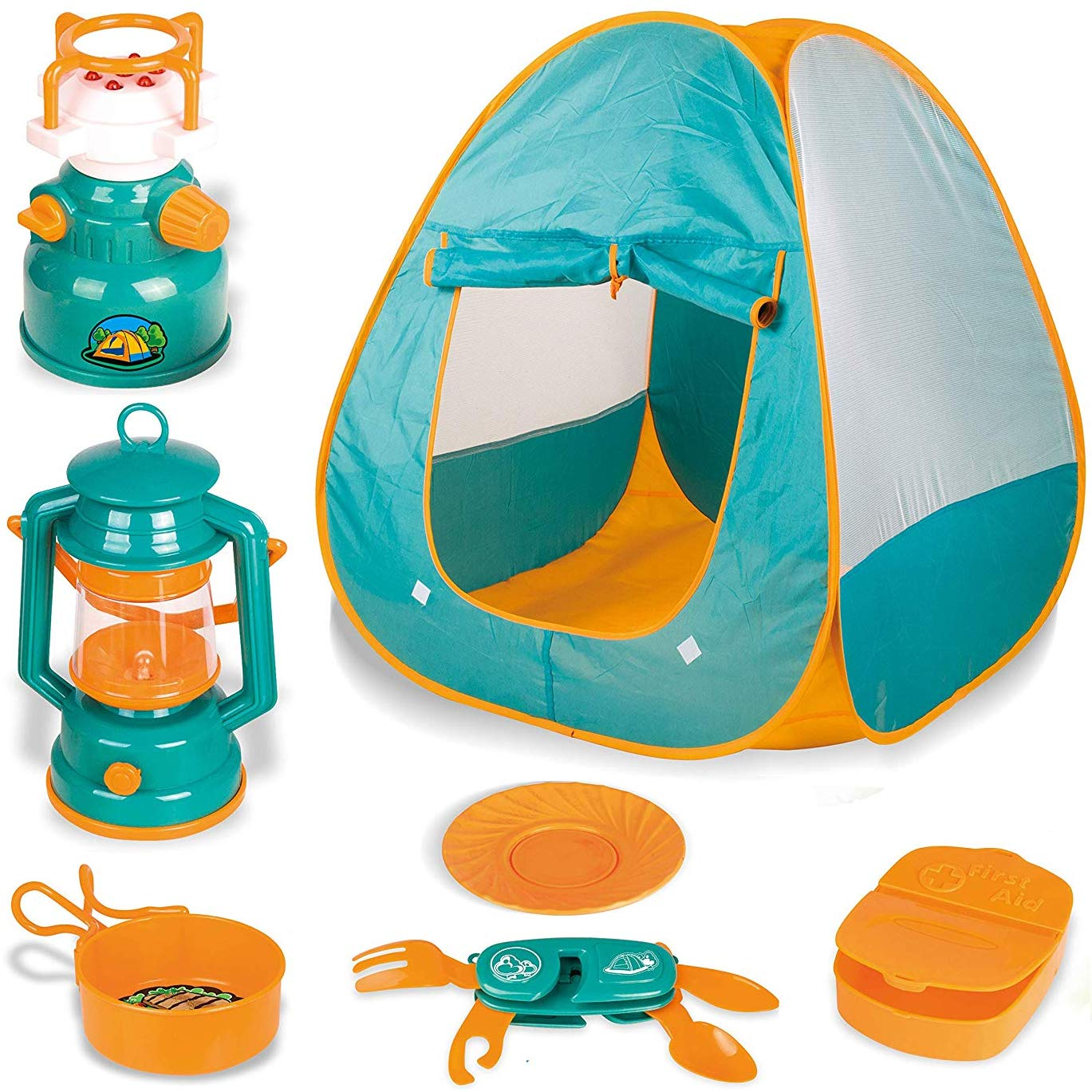 Little Explorers Kids Pop Up Play Tent with Camping Gear Outdoor Toy Tools Set (7 Pieces) by Liberty Imports