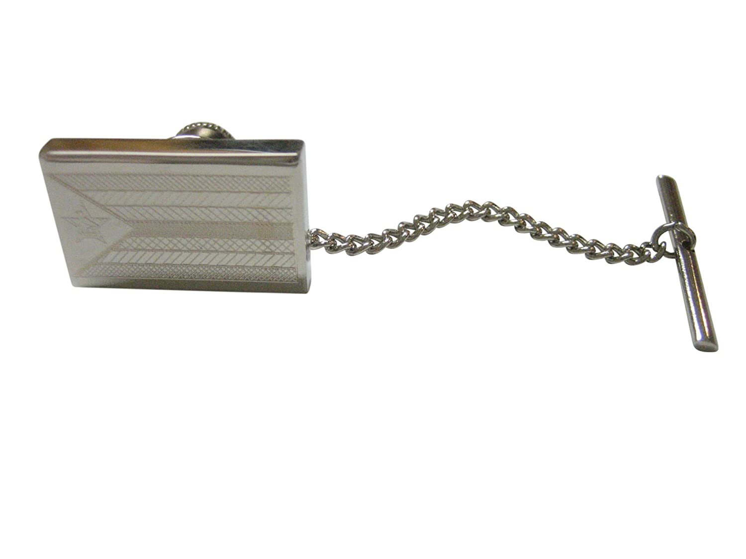 Silver Toned Etched Zimbabwe Flag Tie Tack