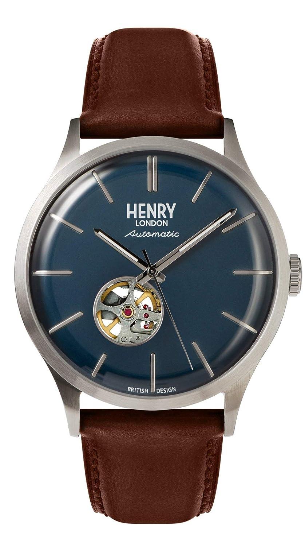 Henry London Reloj Analógico para Hombre de Automático con Correa en Cuero HL42-AS0277: Amazon.es: Relojes