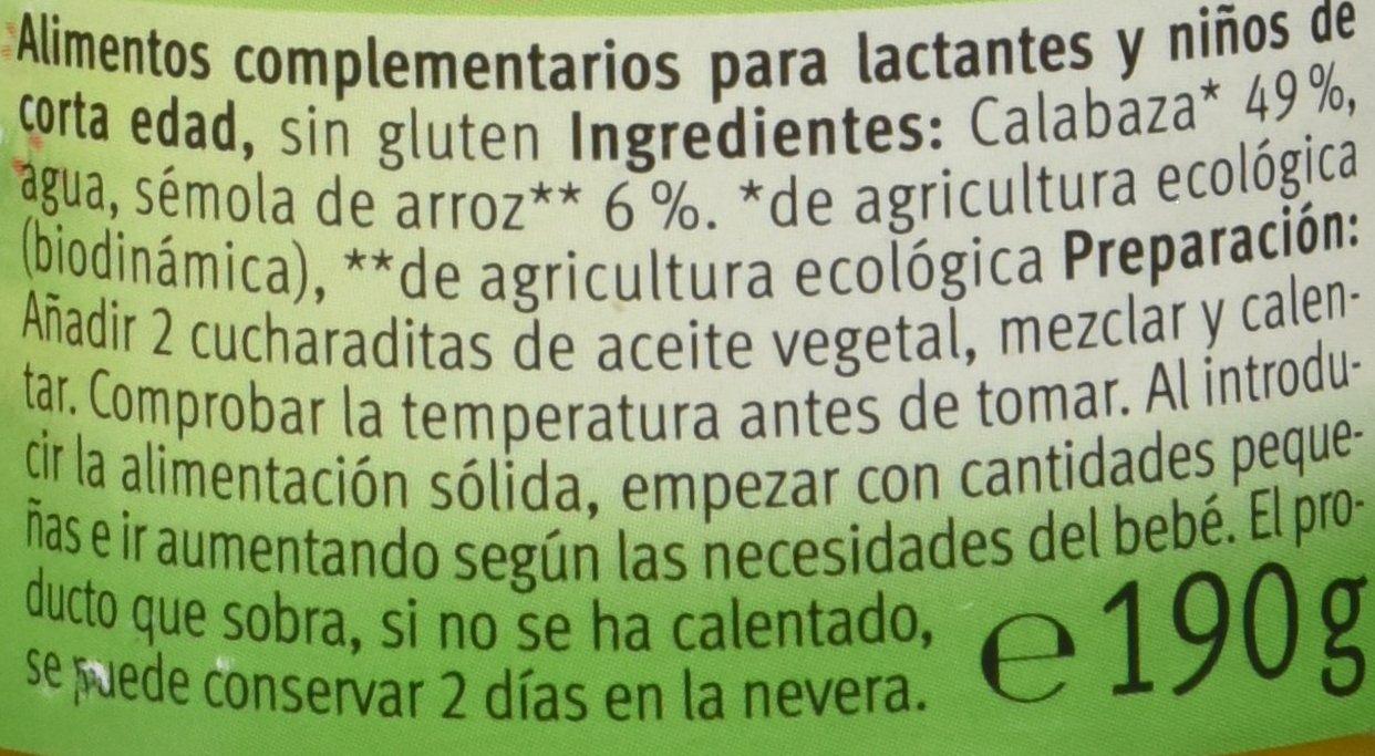 Holle Potitos de Verduras Calabaza y Arroz (+ 4 meses) - 190 gr ...